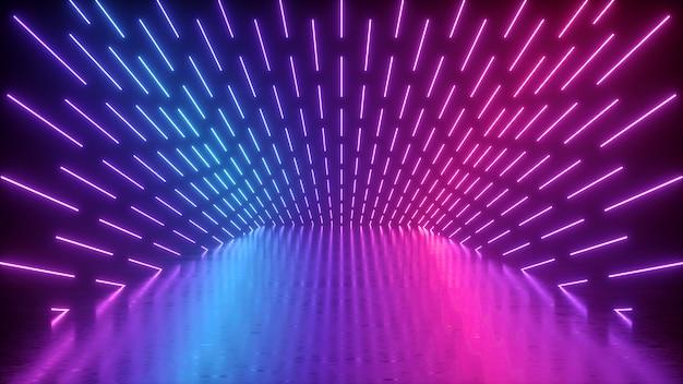 Rendu 3d de scène de performance vide néon abstraite