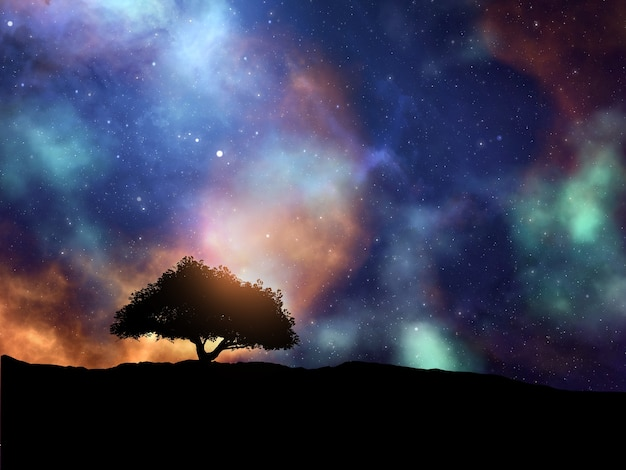 Rendu 3d d'une scène spatiale abstraite avec paysage arboré