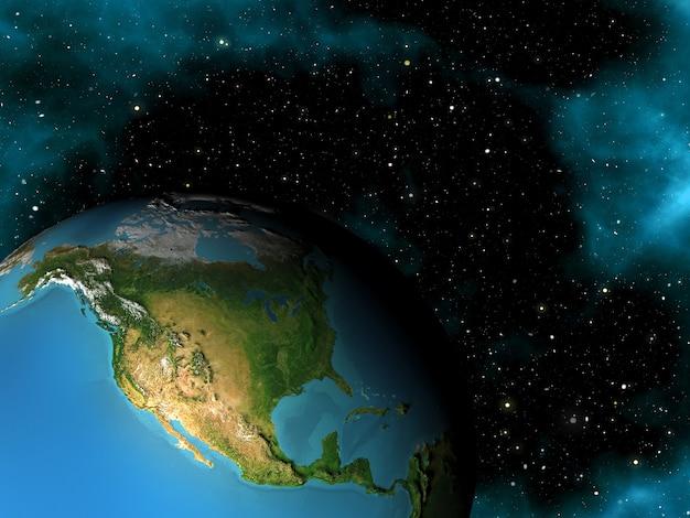 Rendu 3d d'une scène spatiale avec la terre dans le ciel étoilé