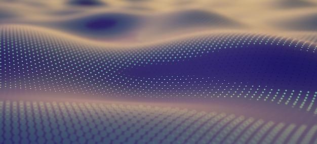 Rendu 3d science vague abstraite technologie particules maillage fond.