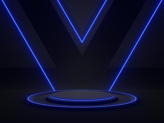 Rendu 3d scientifique noir avec lumière bleue. fond sombre.