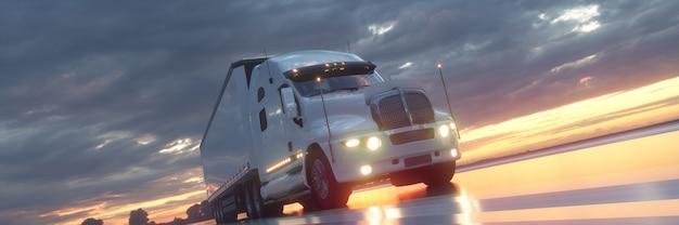 Rendu 3d semi-camion conduisant à la bannière de fond de coucher de soleil