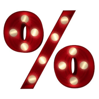 Rendu 3d d'un signe de pourcentage lumineux idéal pour les messages show business