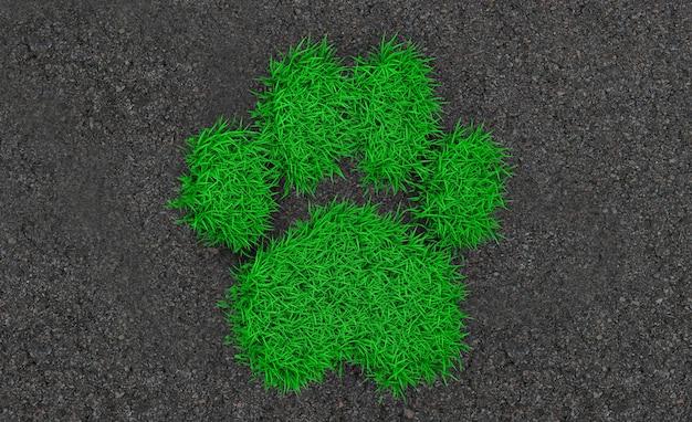 Rendu 3d silhouette d'un animal imprimé à partir d'une herbe verte sur l'asphalte