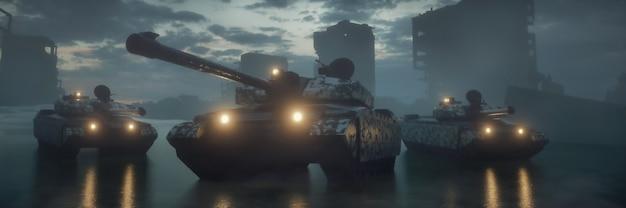 Rendu 3d des silhouettes de chars militaires avec du brouillard dans la bannière d'arrière-plan du champ de bataille