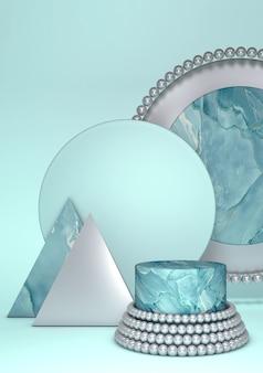 Rendu 3d de socle géométrique en marbre vert pour la présentation du produit
