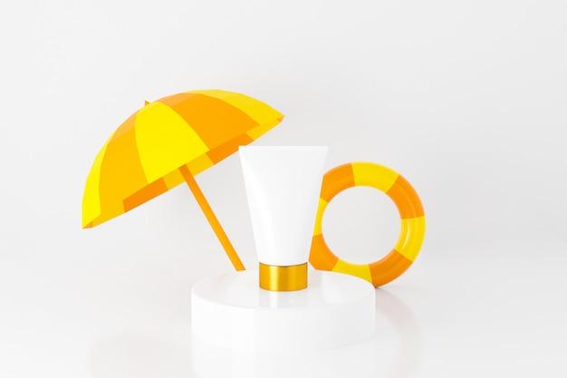 Rendu 3d de soins cosmétiques avec anneau de bain et parasol