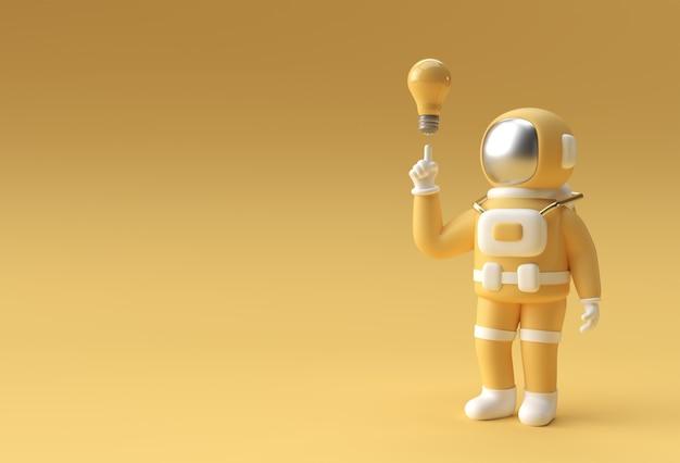 Rendu 3d spaceman astronaut main pointant doigt lumière idée ampoule geste illustration 3d conception.