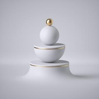 Rendu 3d de sphère blanche, boule d'or, anneau d'or