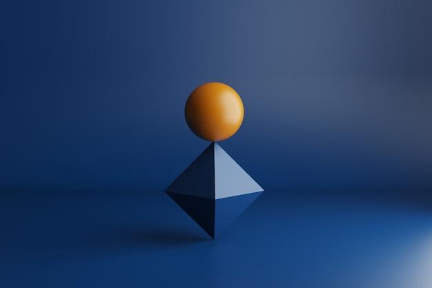 Rendu 3d, sphère orange en parfait équilibre sur losange bleu