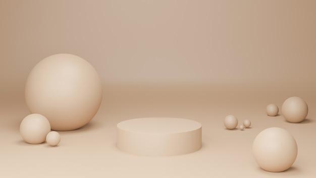 Rendu 3d sphères beiges et podium sur fond beige