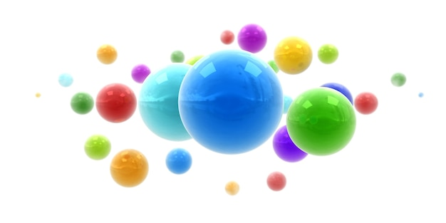 Rendu 3d de sphères brillantes multicolores flottant dans les airs