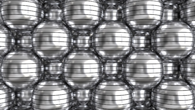 Rendu 3d de sphères métalliques coupées