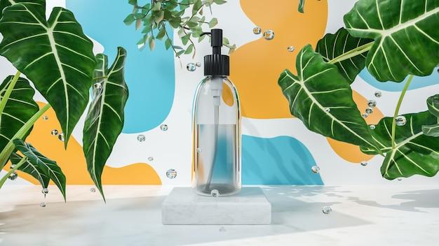 Rendu 3d de spray de parfum sur le podium pour l'affichage du produit