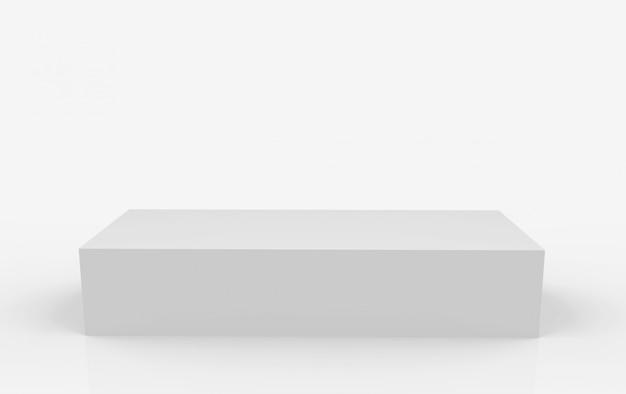 Rendu 3d. stade de podium boîte grise rectangle vide sur fond blanc.