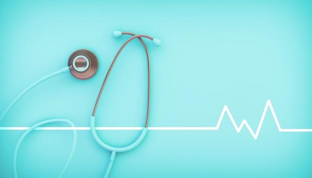 Rendu 3d de sthétoscope bleu médical avec illustration de ligne de vie