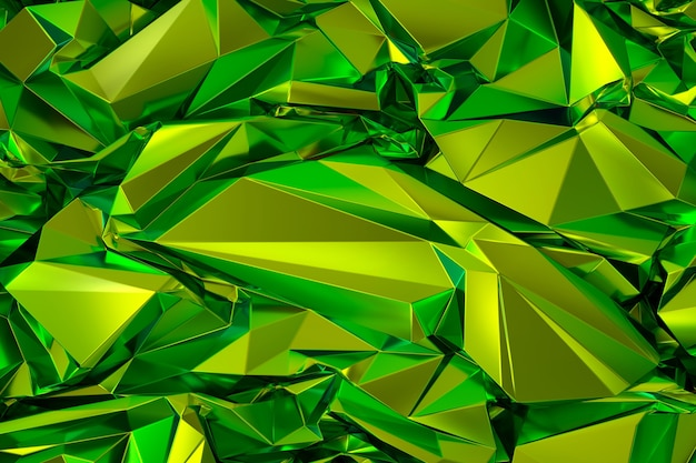 Rendu 3d de la structure cristalline abstraite polygonale vert clair