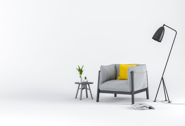 Rendu 3d de studio avec fauteuil et décorations.