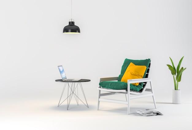Rendu 3d de studio avec fauteuil, ordinateur portable