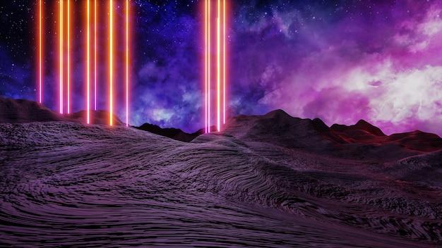 Rendu 3d de style cyberpunk de paysage de réalité virtuelle de science-fiction, univers fantastique et fond de nuage spatial