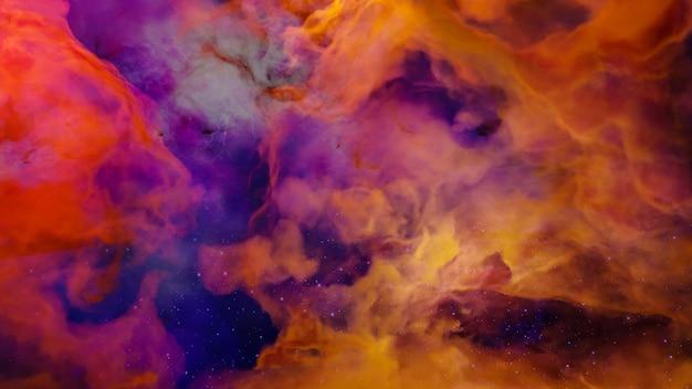 Rendu 3d de style cyberpunk de paysage de science-fiction, univers fantastique et fond de nuage de galaxie.