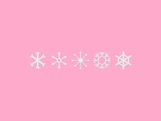 Rendu 3d style dessin animé fond rose météo saison flocon de neige