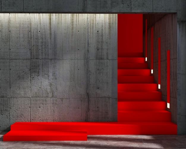Rendu 3d de style loft et abstrait escalier rouge