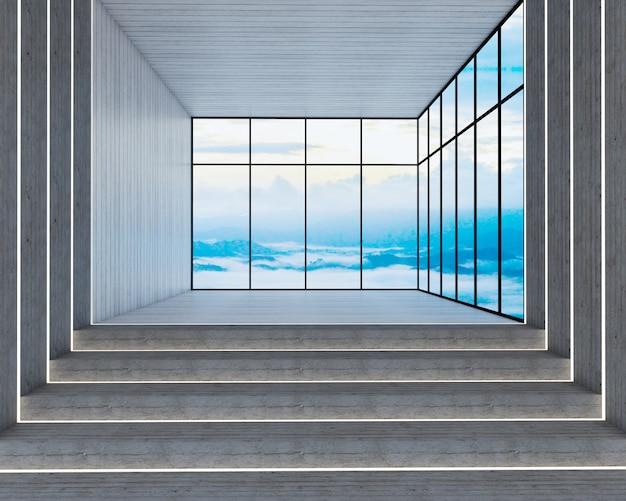 Rendu 3d de style loft et escalier au point de vue