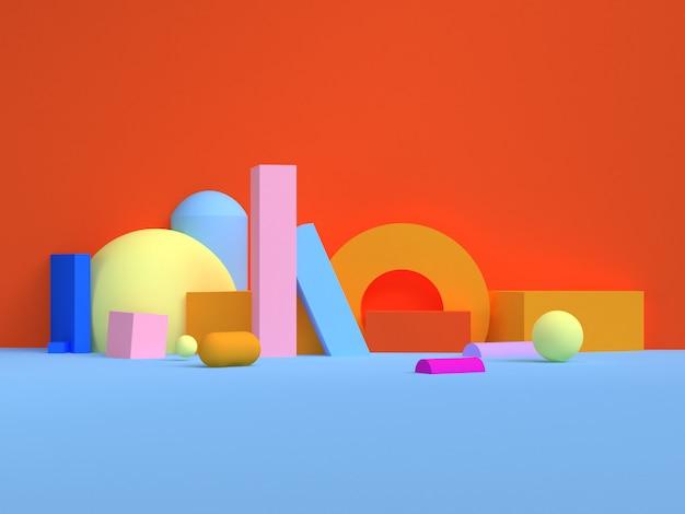 Rendu 3d de style minimal coloré de scène de forme géométrique.