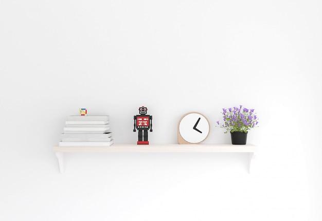 Rendu 3d style minimal, étagère en bois et mur blanc