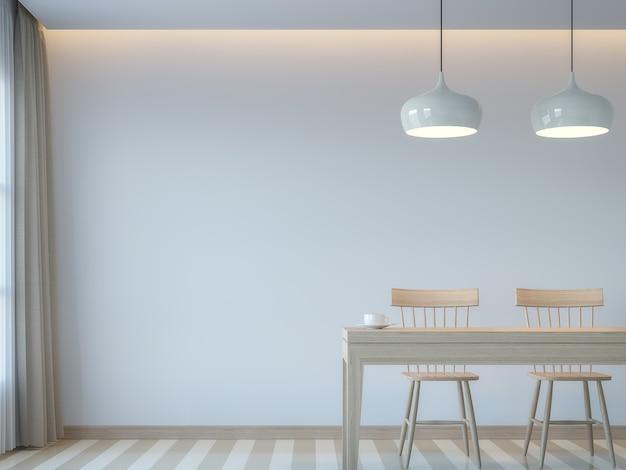 Rendu 3d de style minimal de salle à manger blanche moderneil y a un mur vide blanc et des meubles en bois