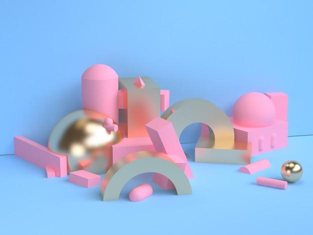 Rendu 3d de style minimal de scène de forme géométrique rose.