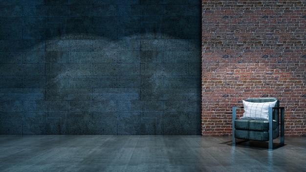 Rendu 3d de style studio loft avec fauteuil