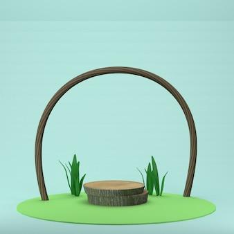 Rendu 3d support en bois naturel sur fond bleu