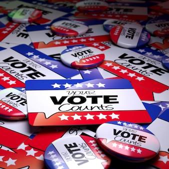 Rendu 3d d'une surface de campagne avec des badges et des bannières avec la devise votre vote compte