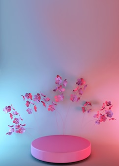 Rendu 3d, surface rose abstraite avec des fleurs de printemps, design de mode minimaliste de luxe. présentoir de produits de vitrine de magasin, podium vide, piédestal vide, scène ronde.