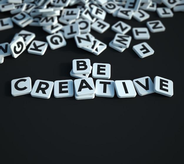 Rendu 3d d'une surface avec des tuiles de lettres dispersées avec un petit groupe formant les mots soyez créatif