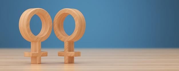 Rendu 3d de symbole lesbien en bois.