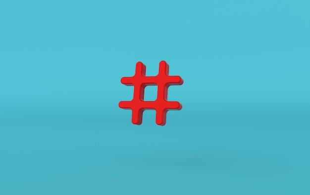 Rendu 3d de symbole de lien de recherche hashtag