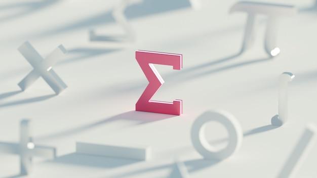 Rendu 3d symbole sigma rouge clair symbole mathématique