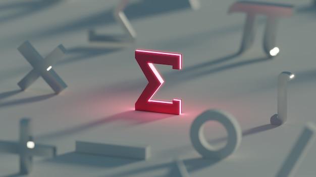 Rendu 3d symbole sigma rouge foncé maths