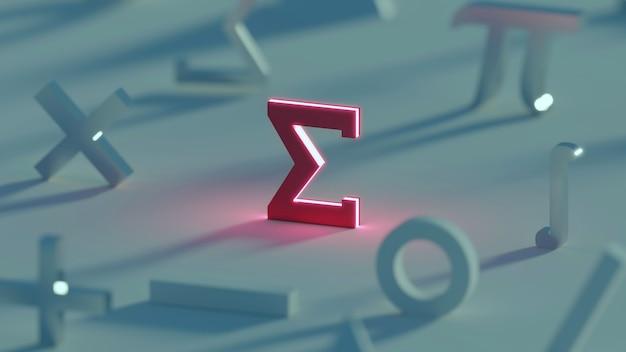 Rendu 3d symbole sigma rouge foncé symbole mathématique
