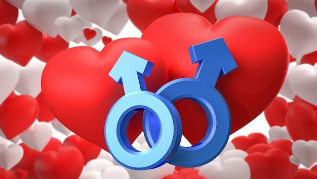 Rendu 3d. symboles de genre coeur, mâle et femelle