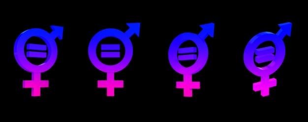 Rendu 3d de symboles sexuels masculins et féminins égaux ou vivant ensemble.