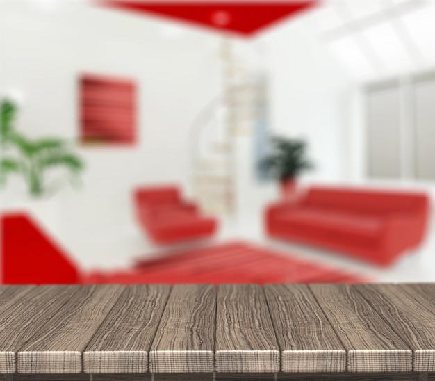 Rendu 3d d'une table en bois donnant sur un salon moderne défocalisé