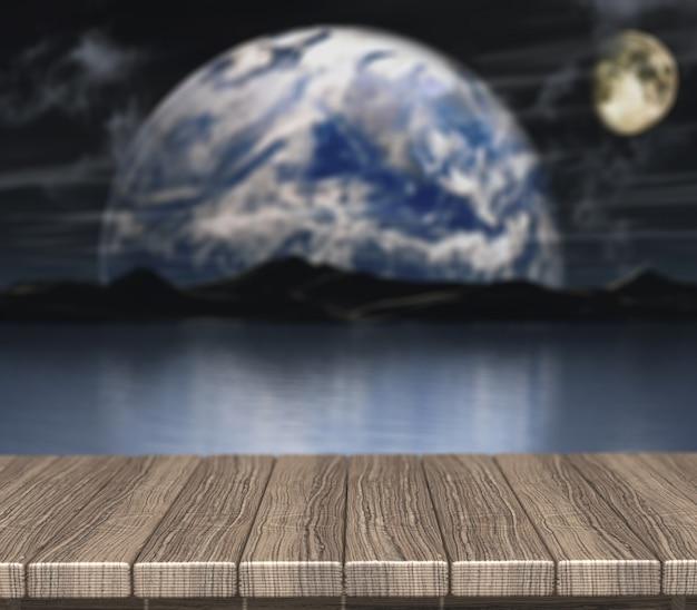 Rendu 3d d'une table en bois donnant sur une scène de nuit avec défocalisé planètes fictives
