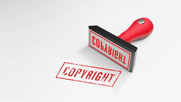 Rendu 3d de tampon en caoutchouc copyright