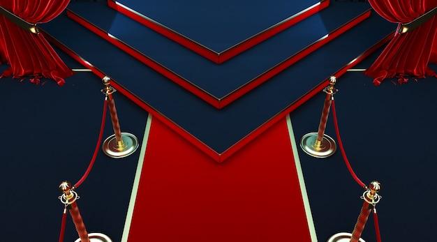 Rendu 3d de tapis rouge réaliste et piédestal avec barrières clôtures et corde de velours