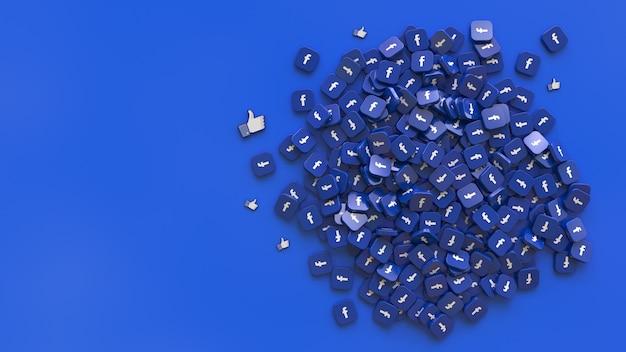 Rendu 3d d'un tas de badges carrés avec le facebook et comme des logos sur fond bleu