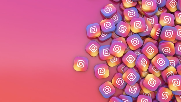 Rendu 3d un tas de badges carrés instagram sur fond coloré